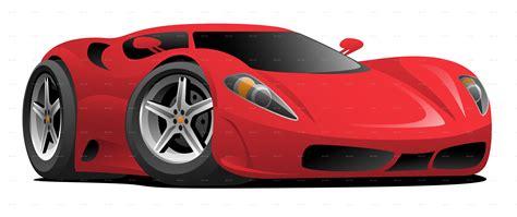 Red Hot European Style Sports Car Cartoon By Jeffhobrath