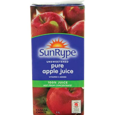 Sunrype Pure Apple Juice - 1 Litre Tetra Box - 12 Pack
