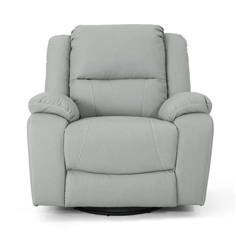 Light Leather Recliner by Noble House Malic Classic Tufted Light Gray Leather Swivel