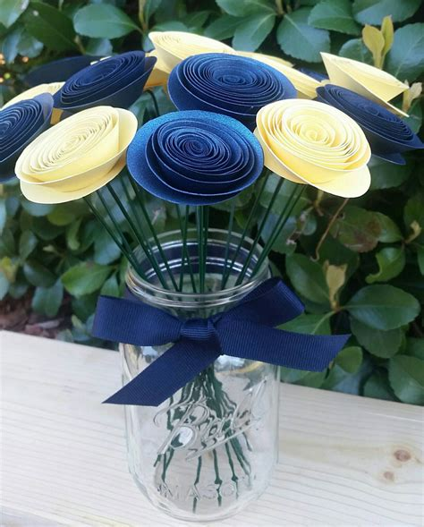 paper centerpieces for tables yellow and navy paper flowers wedding table centerpiece baby