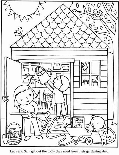 Coloring Garden Pages Shed Colouring Gardening Printable