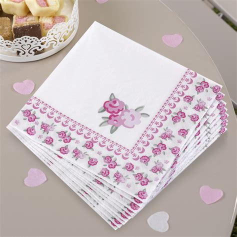 shabby chic napkins 20 x vintage style shabby chic napkins pretty floral party napkins pink roses