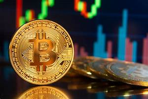 Bitcoin On Edge In Front Of Stock Charts Free Image Download