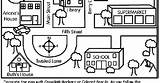 Neighborhood Map Coloring Pages Template Road Sketch sketch template