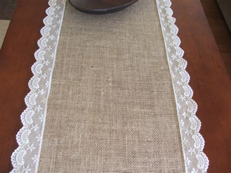 burlap table runner with lace burlap and lace table runner wedding table runner whith