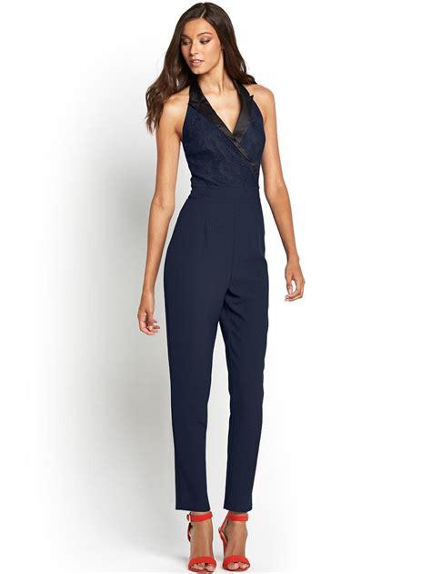 tuxedo jumpsuit lipsy keegan tuxedo jumpsuit in blue navy black