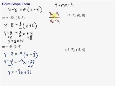 the point slope form of the equation of a line writing equations in point slope form youtube