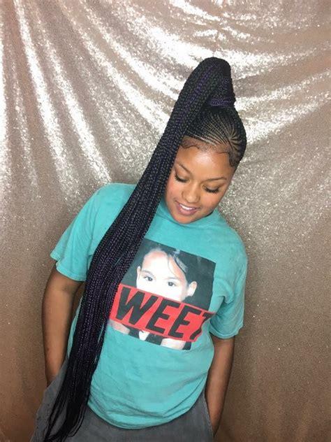 feed  braids box braids   braided ponytail