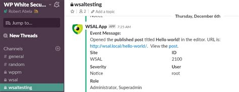 Mirror The Wordpress Site Activity Log To Slack