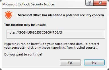Doc Links by S Outlook Security Warning When Clicking On