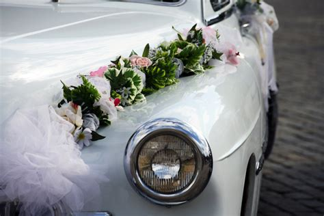 wedding car decoration with flowers getaway in style