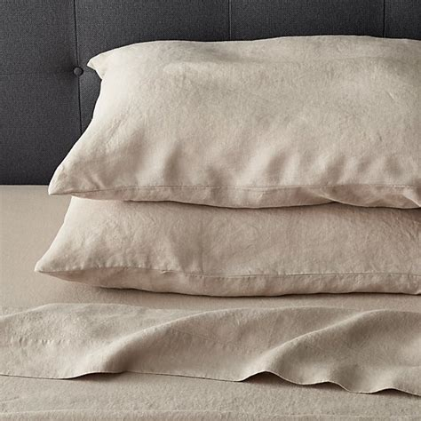 lino flax linen queen flat sheet crate and barrel