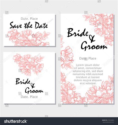 Vintage Flowers Wedding Invitation Cards Floral Stock