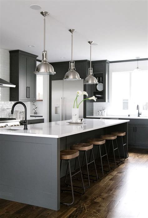 white kitchen with black island 40 and welcoming grey kitchens for your home