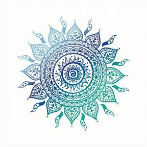 """Blue Gradient Mandala "" Art Prints by adjsr Redbubble"