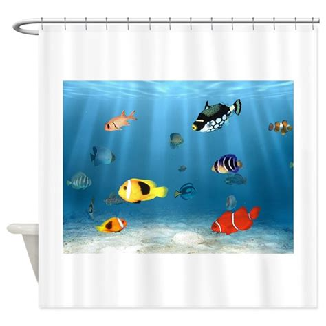 fish shower curtain oceans of fish shower curtain by bonfiredesigns