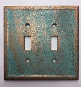 Double, Light, Switch, Cover, Patina, Or, Stone