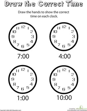 analog clocks draw the time worksheet education com