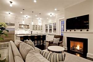 kitchen family room transitional living room With kitchen and living room design
