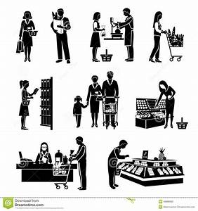 Supermarket People Black Stock Vector - Image: 48888993