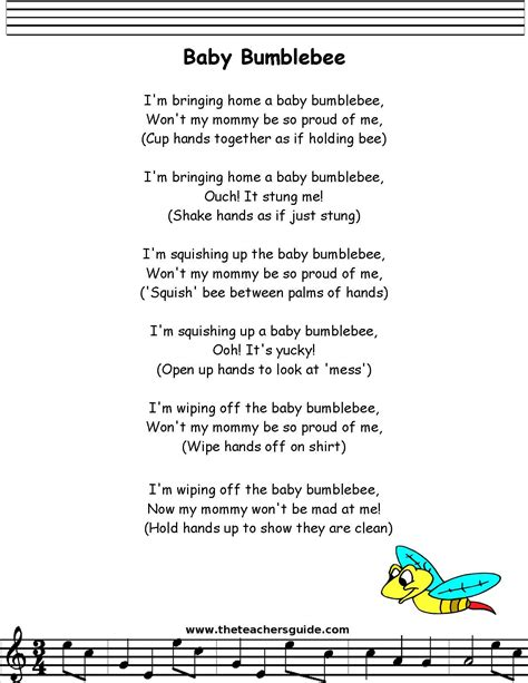 babybumble bee lyrics printout stuff 660 | 23cbfec0cb90c7eded9df987a568c16a