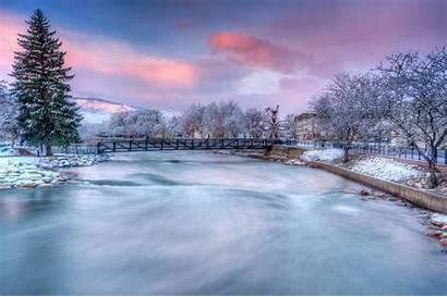 Reno Snow Lake Truckee River Nevada Winter