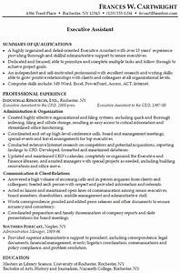 resume for an executive assistant susan ireland resumes With sample resume for executive assistant to senior executive
