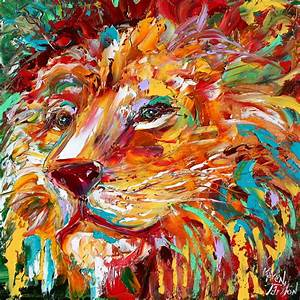 Abstract impressionism LION ANIMAL PORTRAIT painting Original