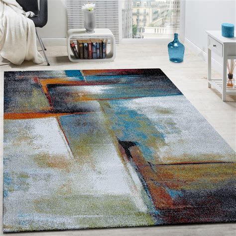 Designer Teppich Modern Kurzflor Wohnzimmer Bunt Trendig