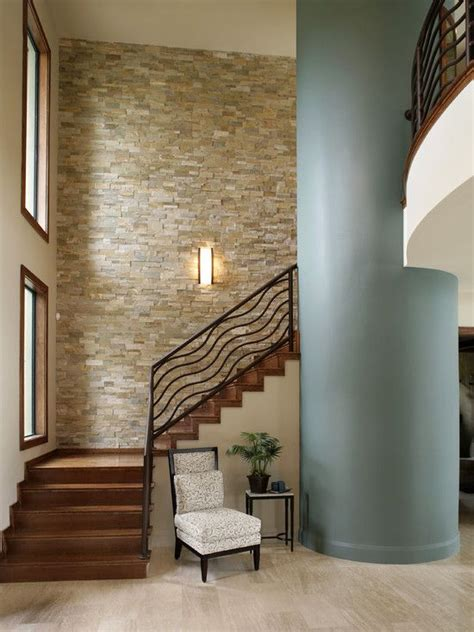 stacked stone wall living room design pictures remodel