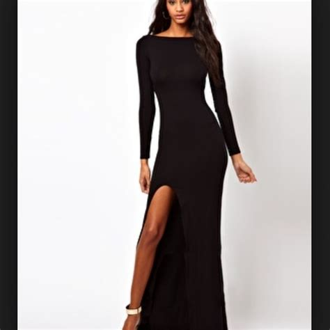 Asos Dresses Nwot Long Sleeve Backless Black Maxi Dress
