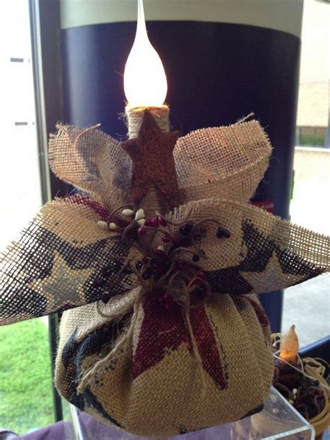 Americana Burlap Candle Love This Perfect For Outdoor