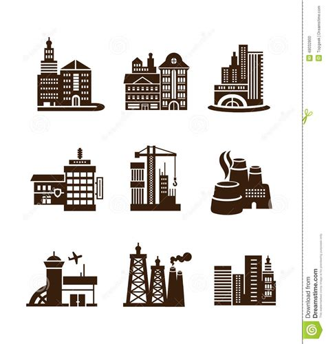 City Building Icons Set Stock Vector Image: 48032800