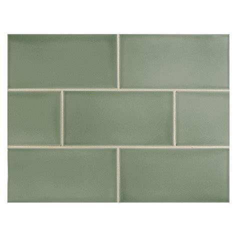 "Vermeere Ceramic Tile  Grey Green Gloss  3"" X 6"" Subway Tile"