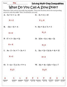 algebra winter solving inequalities activity solving inequalities worksheet
