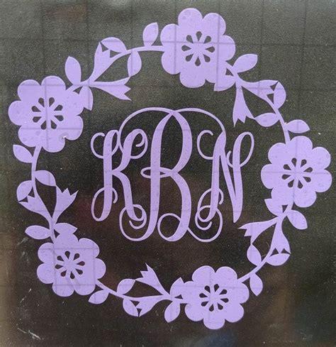 monogrammed car decal car decal cute monogram flower monogram decal spring decal script
