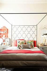Stunning, Bedroom, With, West, Elm, Ellipse, Metal, Canopy, Bed, Dressed, With, Layered, Red, And, Taupe, Bed