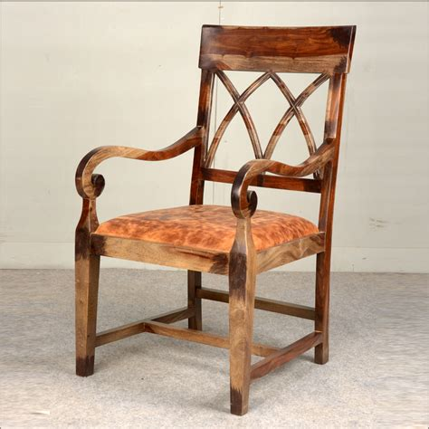 rustic solid wood leather upholstered arm dining chair