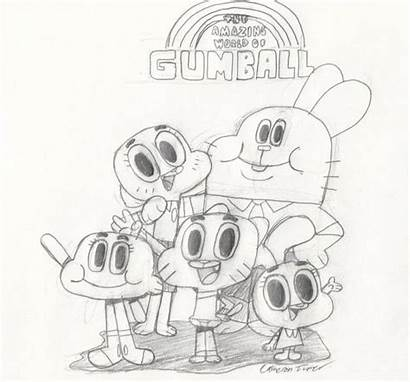 Coloring Gumball Amazing Pages Cartoon Network Drawing