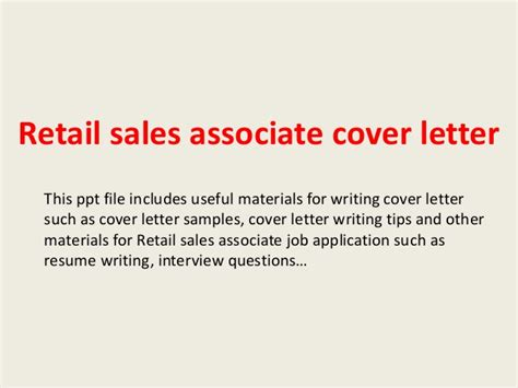 Cover Letter For Retail Sales Associate With No Experience by Retail Sales Associate Cover Letter