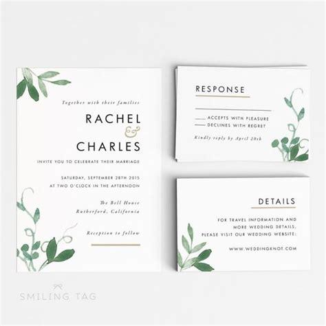 Printable Wedding Invitation Set Modern Botanical