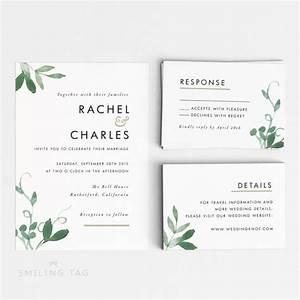 printable wedding invitation set modern botanical With wedding invitation a4 size