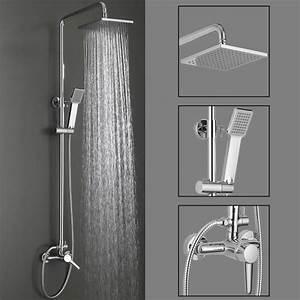 Colonne De Douche Carré : colonne de douche italienne chrom avec pommeau fixe et ~ Edinachiropracticcenter.com Idées de Décoration