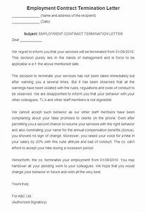23 free termination letter templates pdf doc free With termination of employment contract template