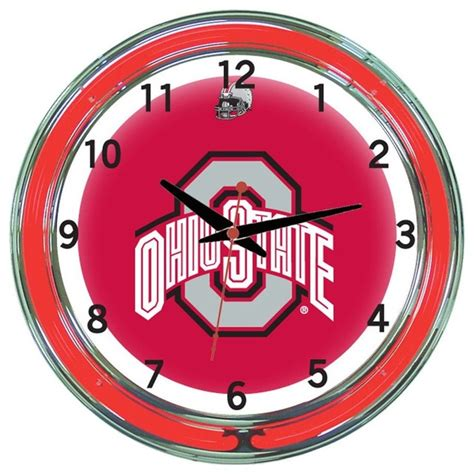ohio state buckeyes 18 quot wall clock with neon lights