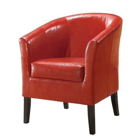 faux leather club chair in 36077red 01 as u
