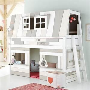 Lit En Hauteur Enfant : lit volutif cabane basse 90x200cm hangout lifetime blanc ~ Preciouscoupons.com Idées de Décoration