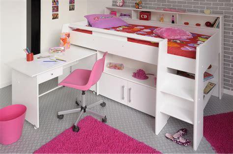 hauteur bureau lit blanc mi hauteur avec bureau rangement fille ou