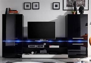 Led Beleuchtung Für Möbel : wohnwand flash schwarz hochglanz inkl led beleuchtung ~ Markanthonyermac.com Haus und Dekorationen