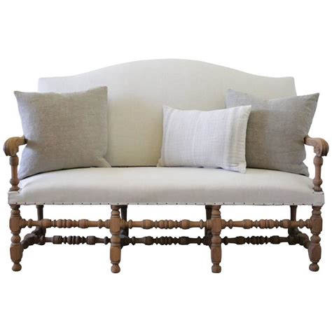 Antique Benches And Settees by Antique Settee Bench Upholstered In Organic Linen